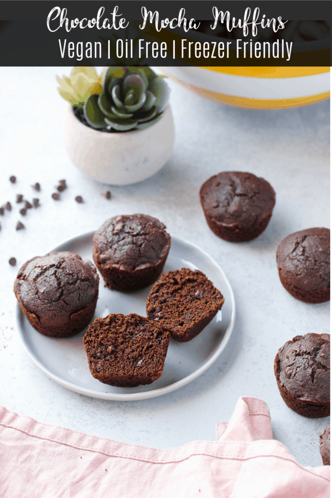 These chocolate mocha vegan muffins are insanely chocolatey, no one will ever guess they're oil-free and vegan! Make a batch and keep them in the freezer when you need a sweet treat or breakfast on the go!