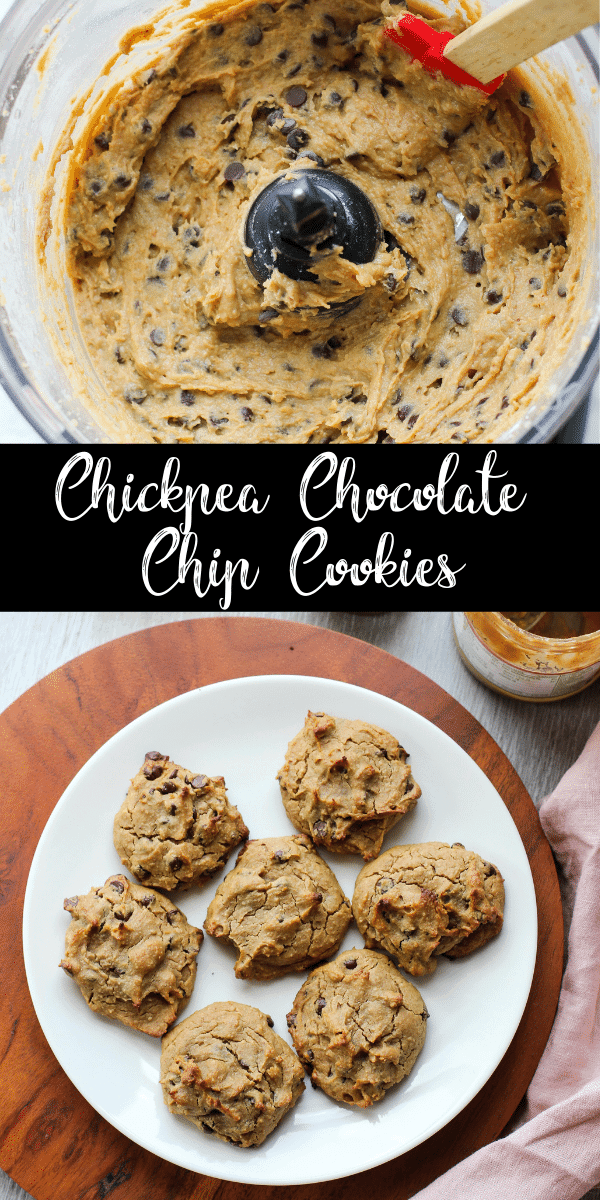 These chickpea chocolate chip cookies are soft and fluffy with just the right amount of sweetness. No one will ever guess these cookies are made with garbanzo beans instead of flour!