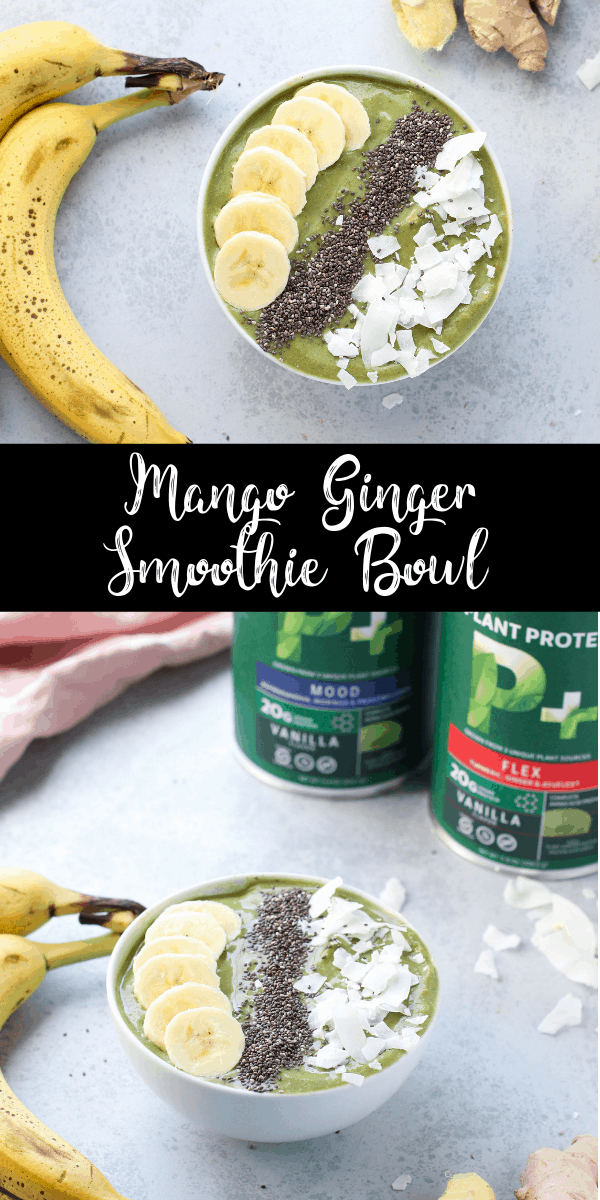 #ad If you love ginger, you need to make this mango ginger smoothie bowl right now! This bowl is packed with frozen fruit, fresh ginger, a handful of greens, and Biochem plant-based protein powder. When I add protein powder to my smoothie bowls, I want it to be just as clean as the rest of the bowl! This protein powder is 100% plant-based, non-GMO, gluten-free, and soy-free. @biochemprotein @countrylifevitamins #sciencebynature #biochemprotein