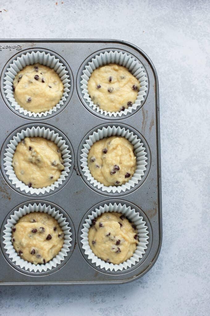 Almond Flour Applesauce muffins in a pan