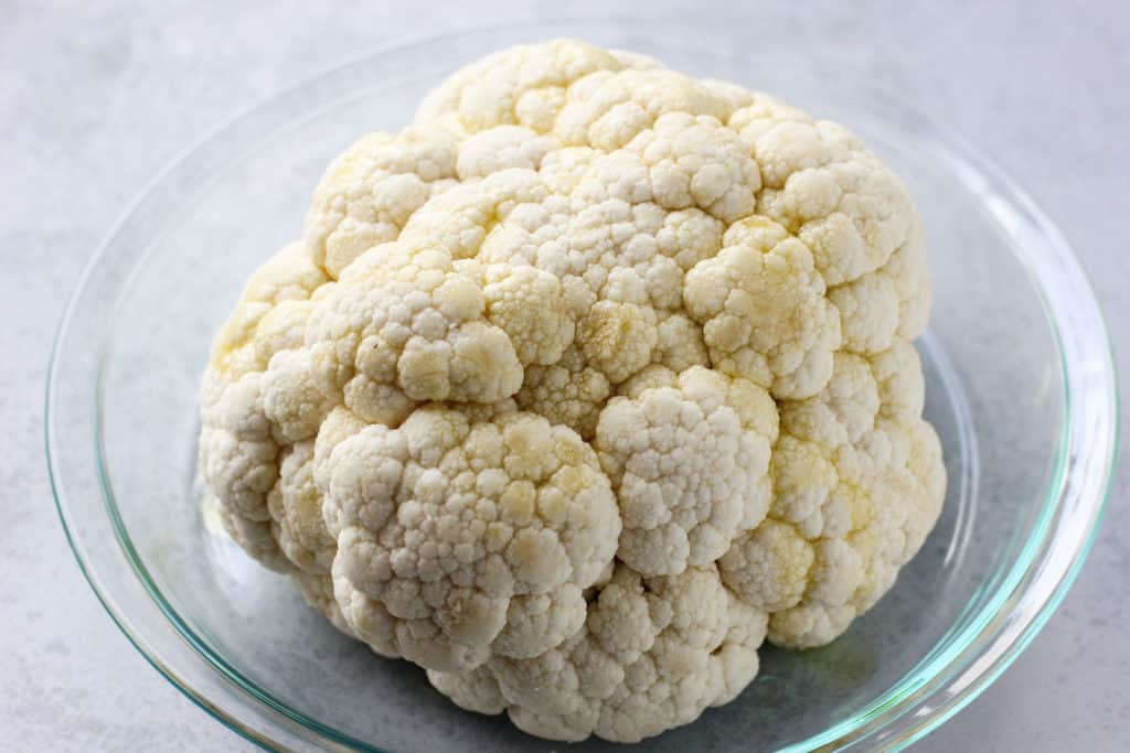 cauliflower head on a dish
