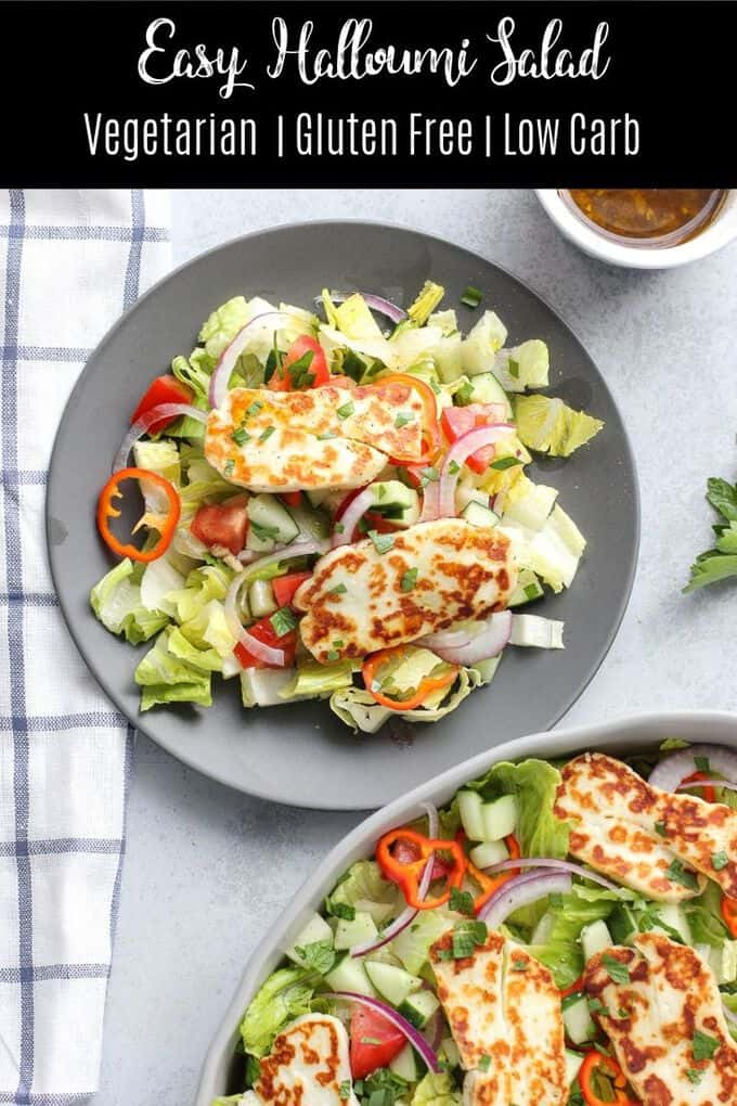 Looking for an easy low carb vegetarian salad recipe? This easy halloumi salad is the answer! With a light homemade dressing and crispy, salty halloumi, this salad is a weeknight winner!