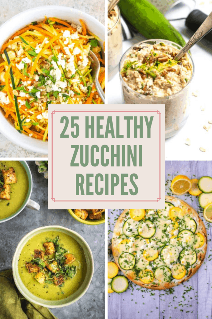 Looking for new ideas for zucchini? I\'m sharing 25 healthy zucchini recipes from breakfast to dessert! Try one of these recipes and make the most of your summer produce! #zucchini