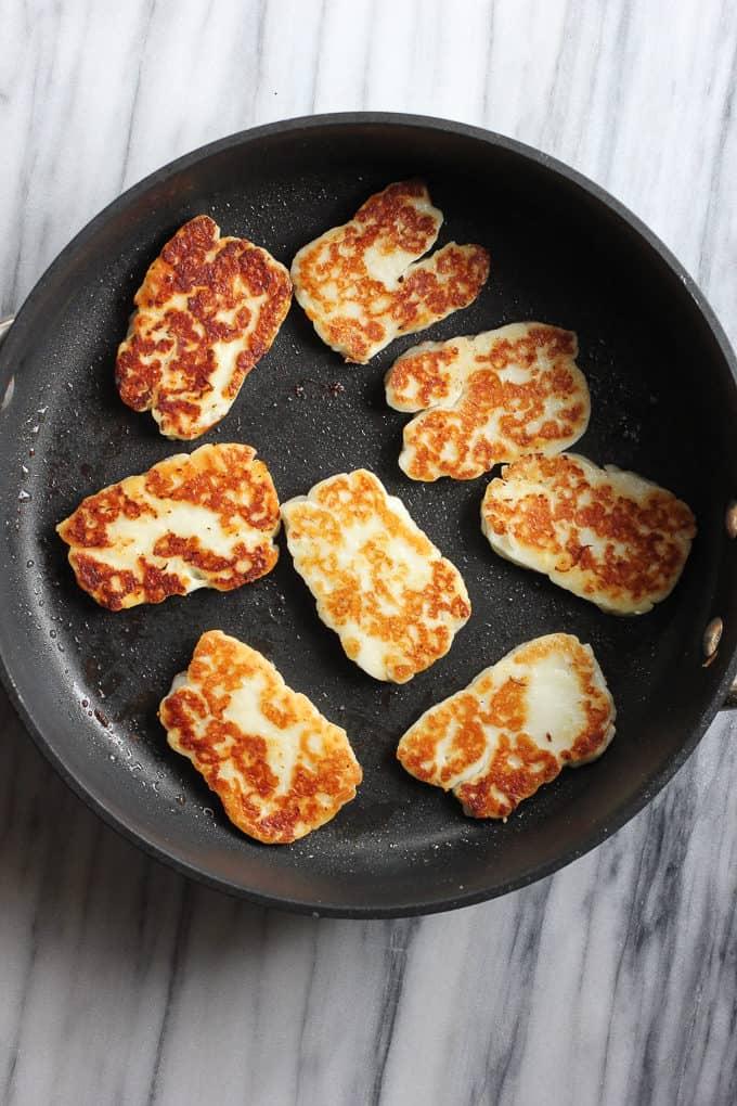 halloumi cheese in a pan
