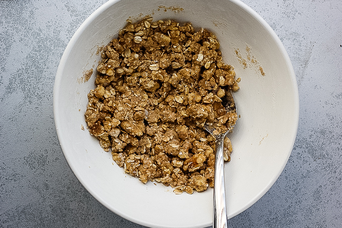 crisp topping in a bowl