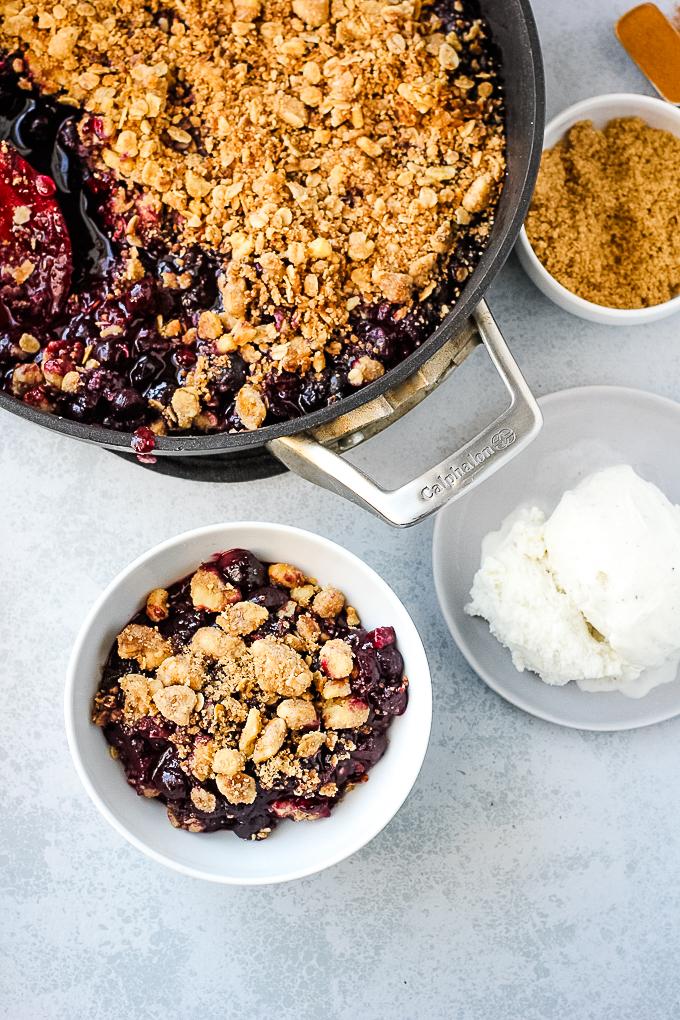 blueberry crisp in a pan