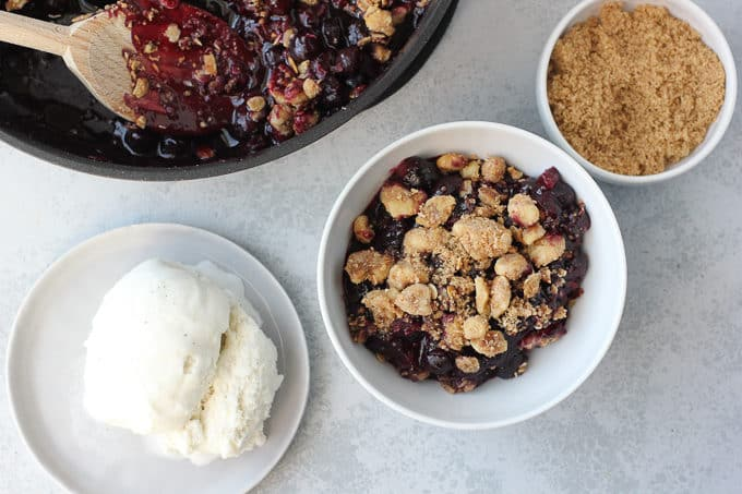 Blueberry crisp in a bowl