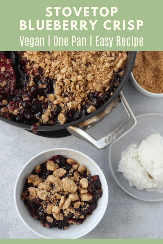 This delicious blueberry crisp is made on the stovetop for an easy but tasty dessert! It's the perfect summer dessert for a party! #dessert #blueberry