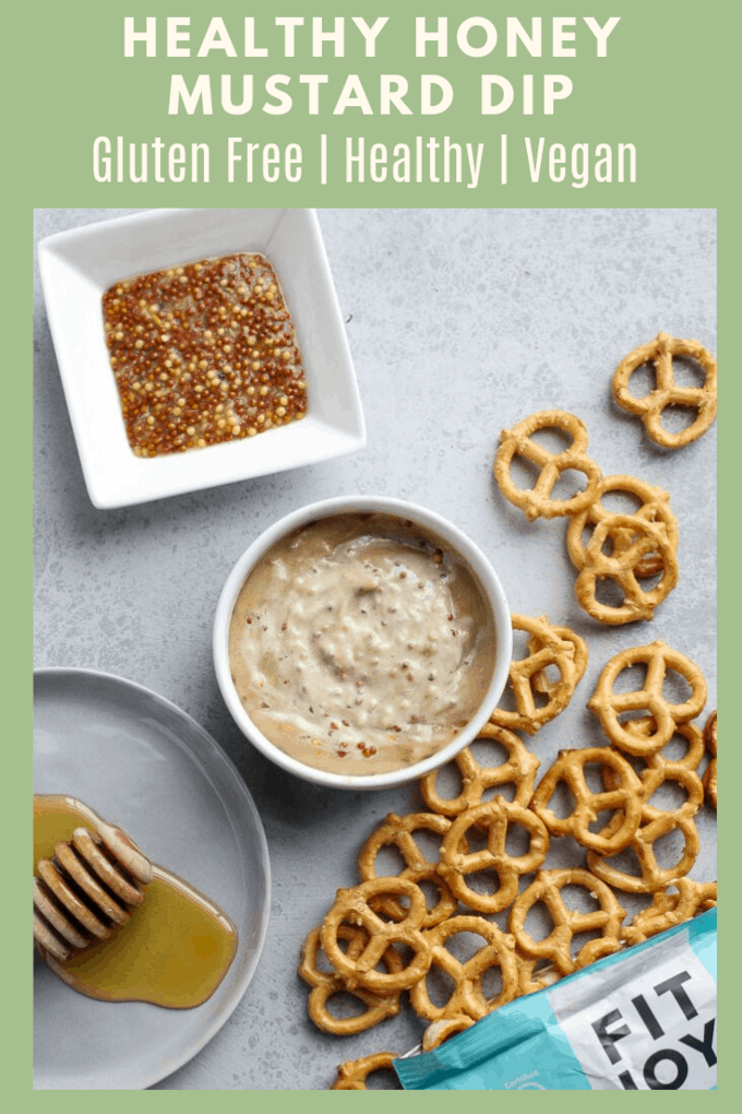 This healthy honey mustard dip is the perfect dipping sauce for salty, crunchy, pretzels! It\'s thick and creamy, with no mayonnaise required!