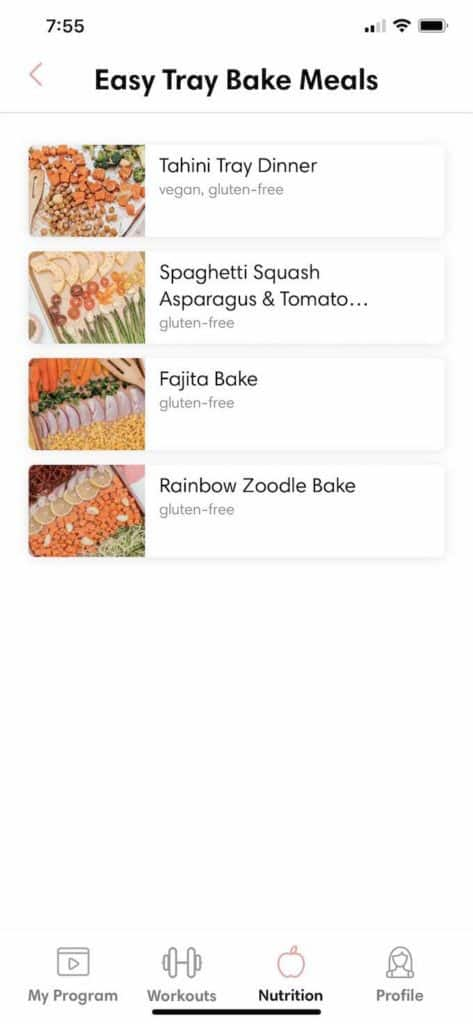 recipes in the tone it up app