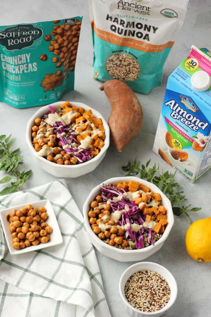 quinoa bowls and ingredients