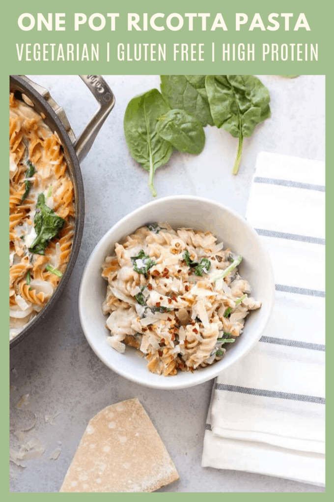 This One Pot Ricotta Pasta made with red lentil pasta is easy & delicious with tons of plant-based protein! 😍 Try this for an easy meatless meal! #EatModern #PastaWithBenefits