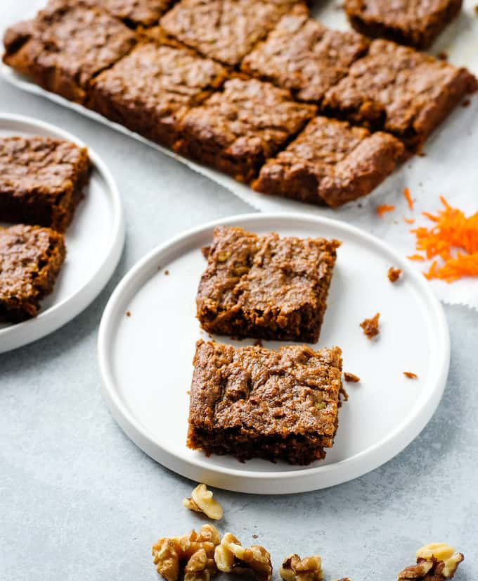carrot cake bars on a plate
