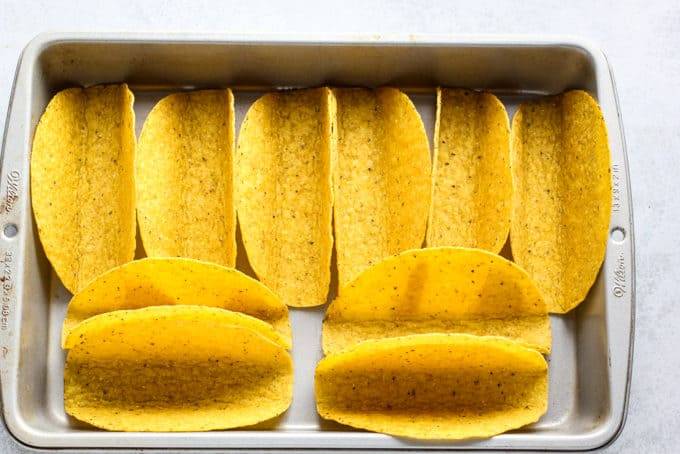 taco shells in a pan