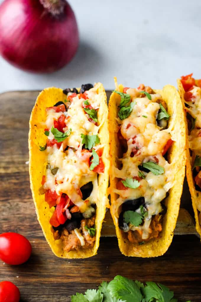 tacos on a cutting board