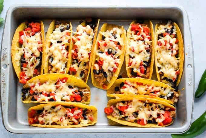baked tacos in a pan