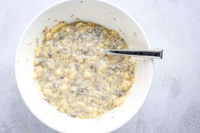 banana bread batter in a bowl