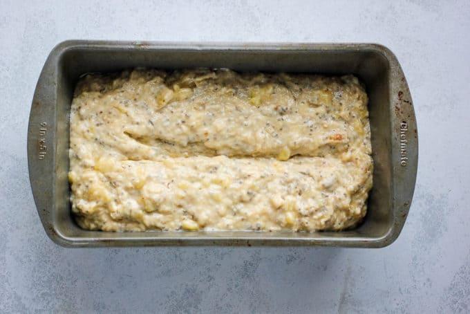 vegan banana bread in a pan