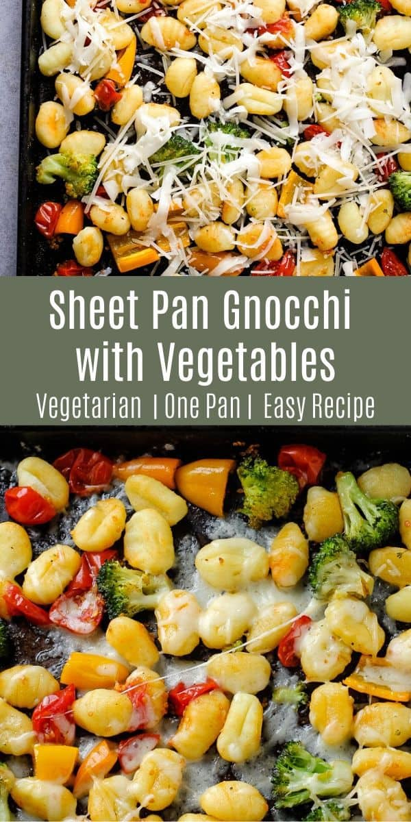 This sheet pan gnocchi with vegetables is a deliciously simple dinner idea! Everything cooks together on one sheet pan and you can add any additional vegetables you like!