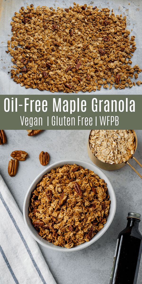 This oil-free maple pecan granola is only 5 ingredients, but it\'s sweet, crunchy, and delicious! This is the perfect healthy breakfast or snack when you\'re short on time!