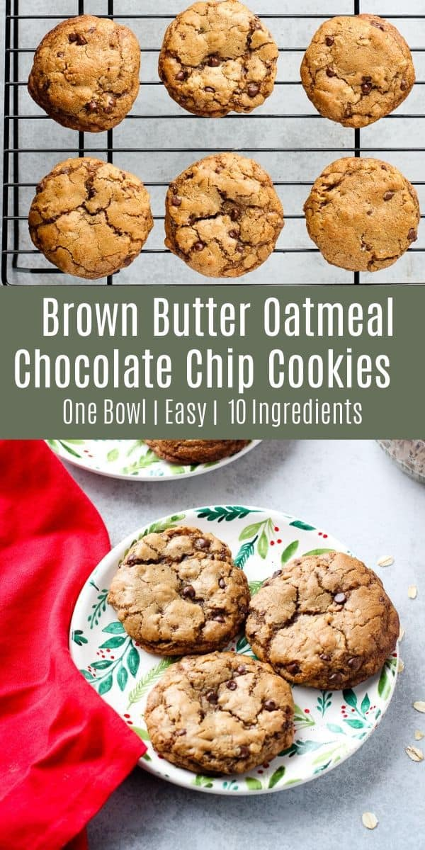 These Brown Butter Oatmeal Chocolate Chip Cookies are soft and chewy with a hint of toffee flavor and plenty of chocolate. These are a tasty treat for the holidays! Try them for your next cookie exchange or dinner party dessert! #holidaybaking #cookies #dessert #recipe