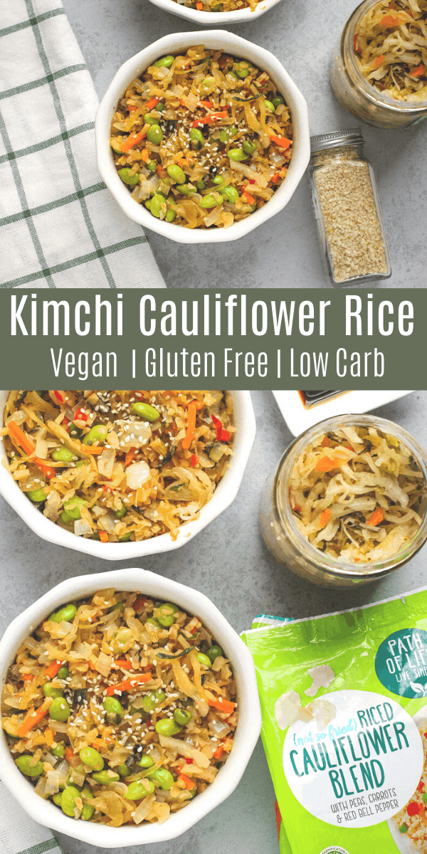 If you love spicy food, this kimchi cauliflower rice is for you! It's a veggie-packed dish loaded with flavor for a quick and easy weeknight meal. This is a great low carb vegan dinner recipe with lots of protein from the edamame! #lowcarb #vegan