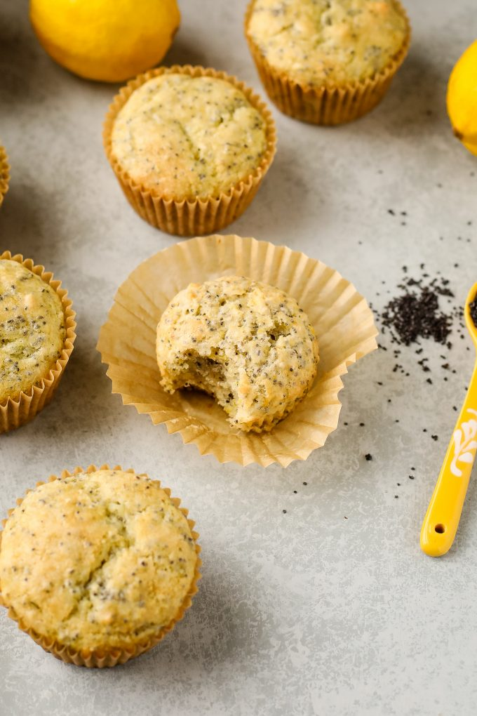 lemon poppy seed muffin with a bite taken out