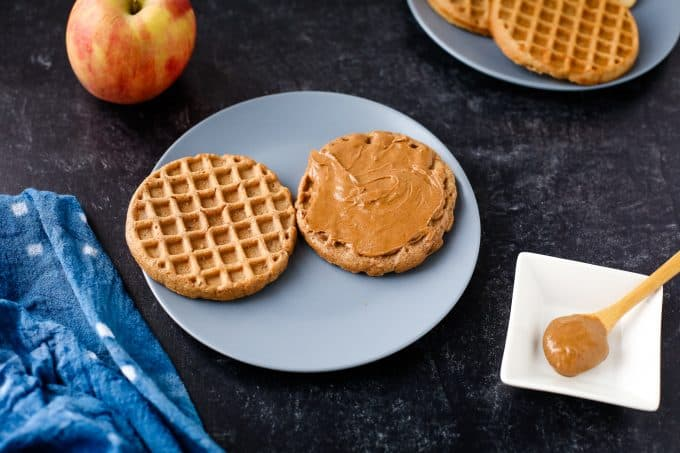 almond butter on a waffle