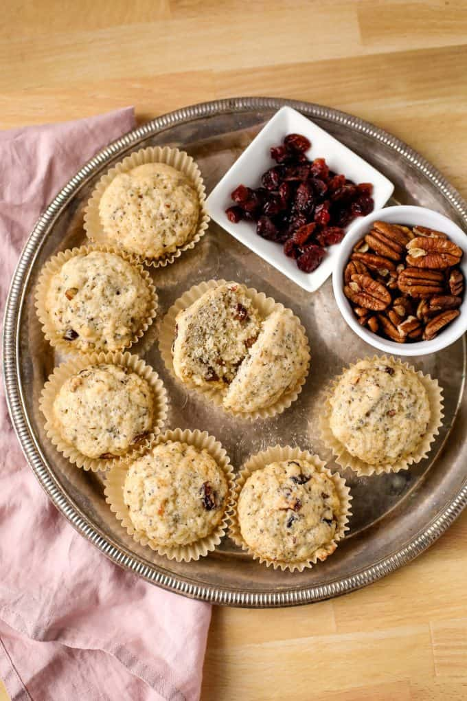 vegan cranberry muffins on a tray