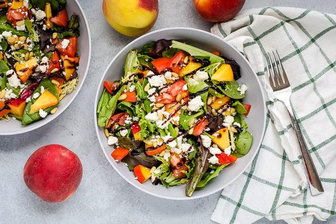 peach feta salad