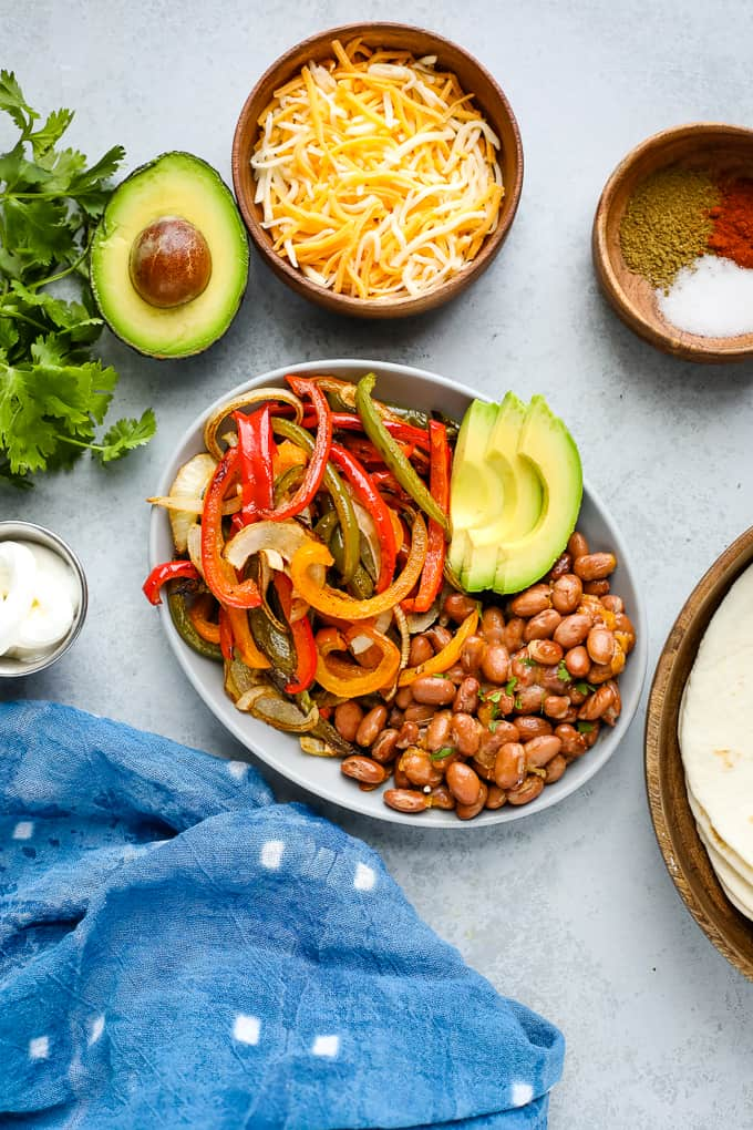 peppers and pinto beans on a plate