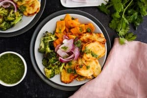 halloumi and vegetables