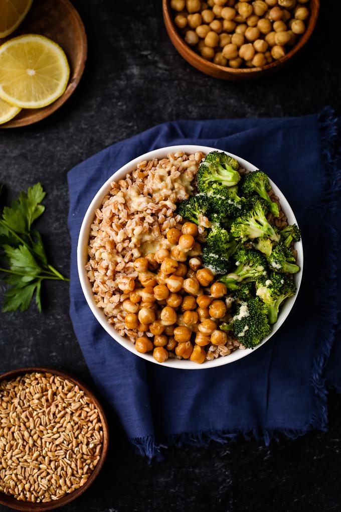 farro grain bowl with broccoli