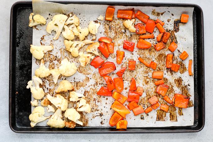 veggies on a baking sheet