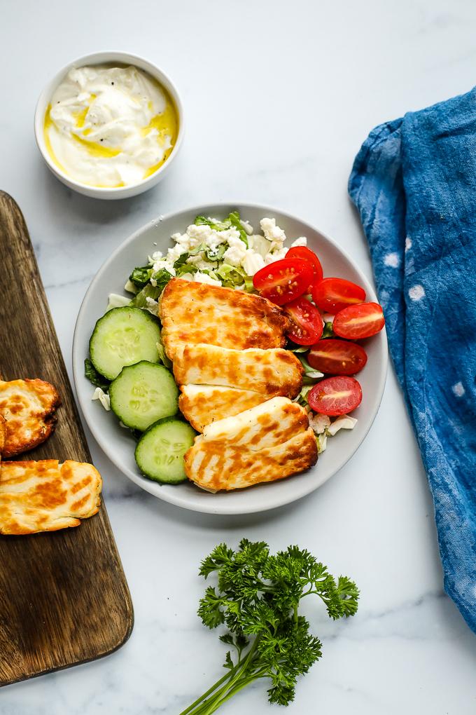 air fried halloumi on a salad