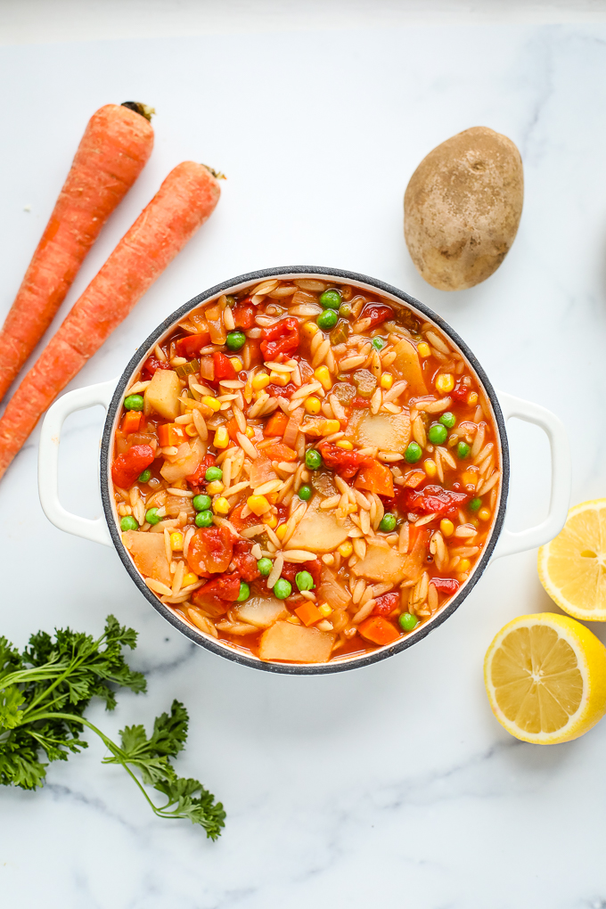 orzo vegetable soup in a dutch oven