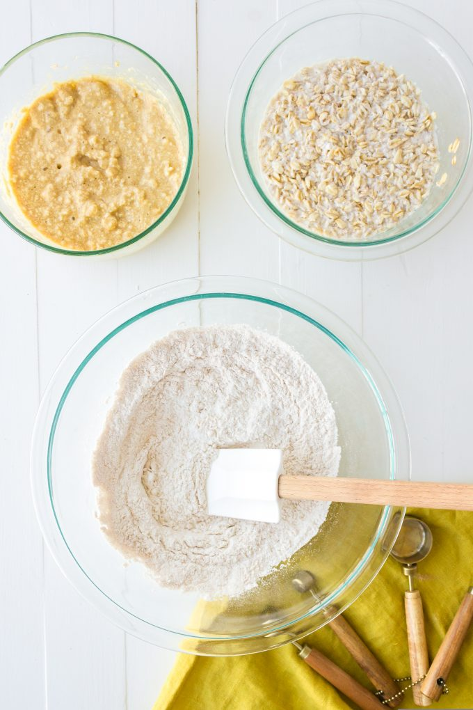 dry ingredients being mixed