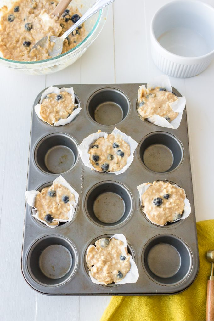 muffin batter in a pan