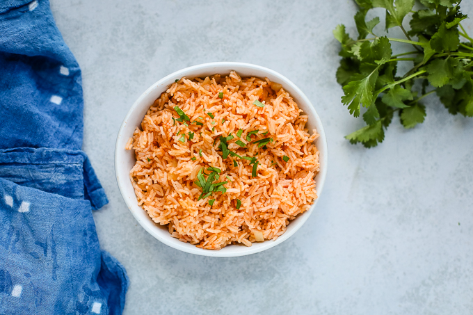 mexican style rice in a bowl