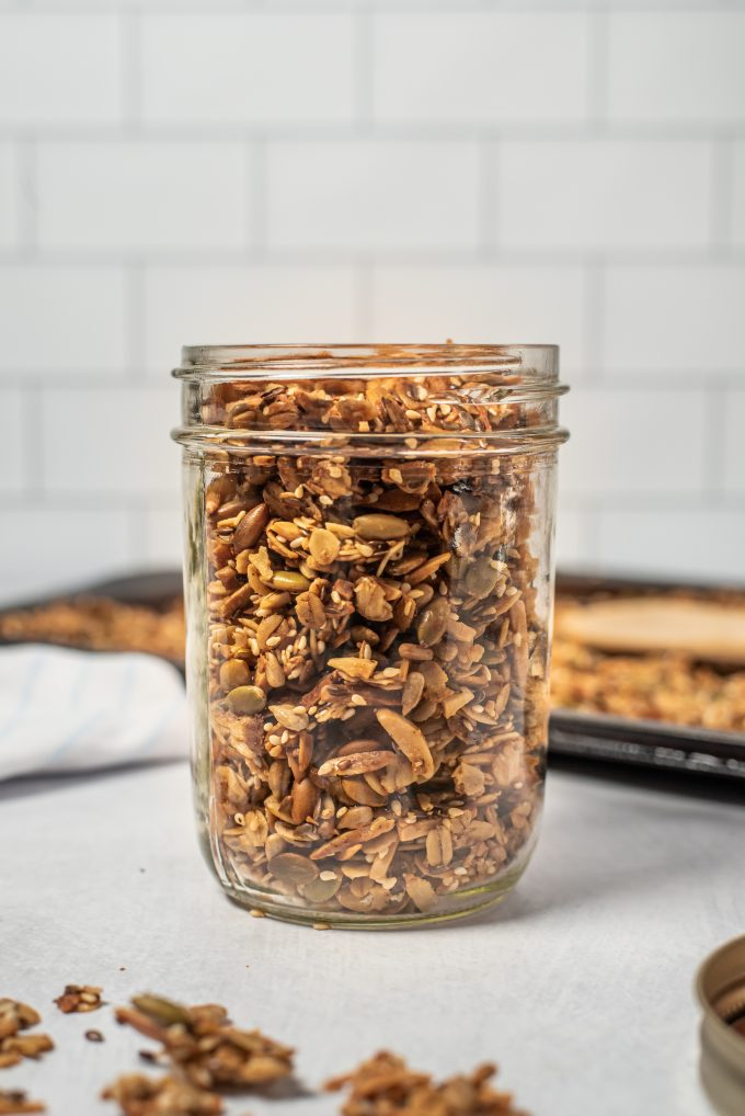 savory granola in a jar