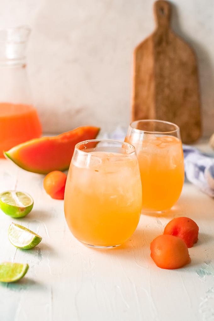melon agua fresca in glasses