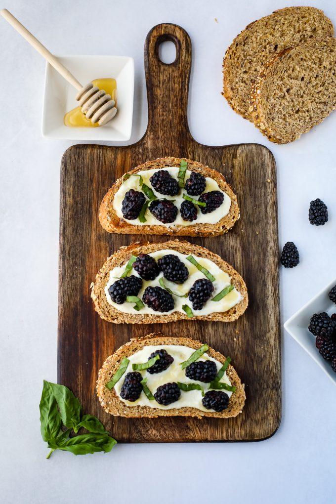 blackberry ricotta toast