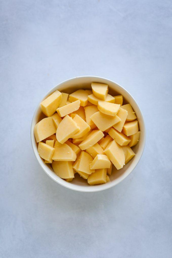 pieces of polenta in a bowl