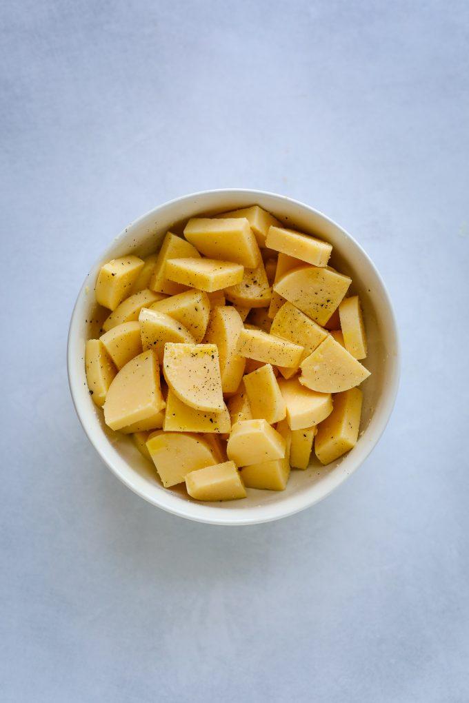 polenta pieces in a bowl