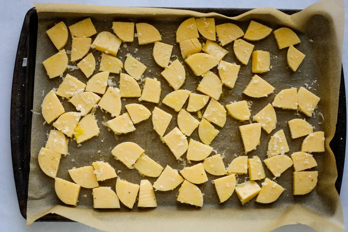 polenta on a baking sheet