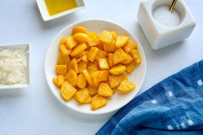 polenta croutons on a plate