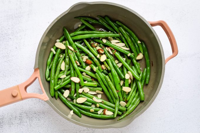 green beans and almonds in a skillet