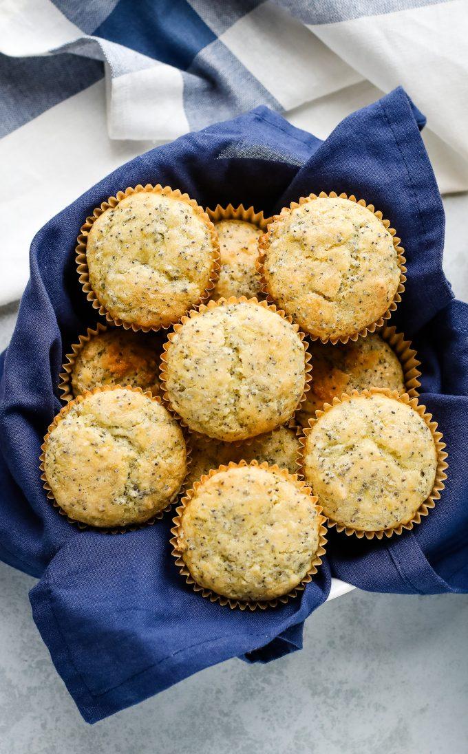 lemon poppy seed muffins in a basket