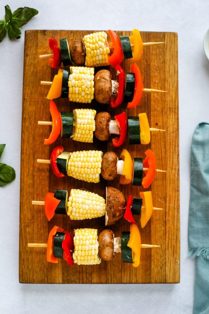Veggie Kabobs on a cutting board