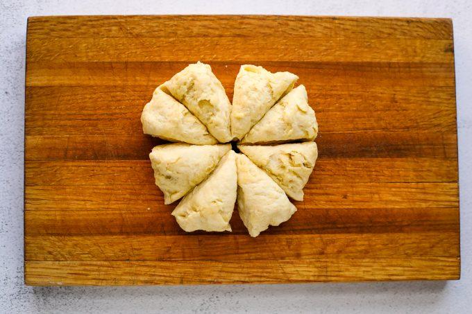flatbread dough on a cutting board